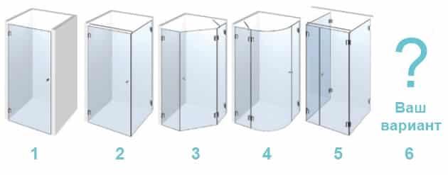 Форма душевой кабины в дизайне ванной